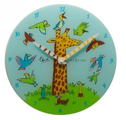 Giraffe Joy - hodiny, detské nástenné, guľaté (sklo, farebné)
