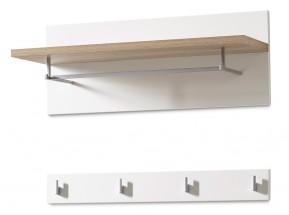GW-Oslo - Vešiakový panel, 1x police, 4xháčik (biela,dub sanremo)