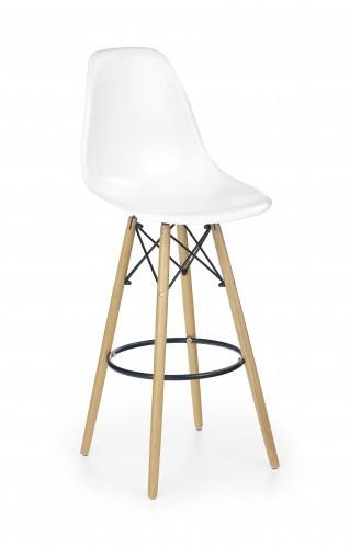 H-51 - Barová stolička, masivné drevo, biela - II. akosť