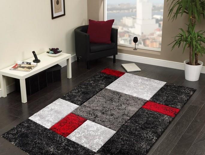 Hawaii - koberec, 170x120cm (100%PP friese, čiernočervená)