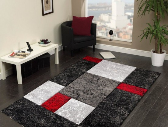 Hawaii - koberec, 290x200cm (100%PP friese, čiernočervená)