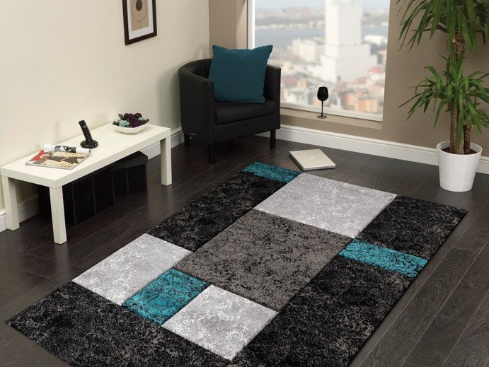 Hawaii - koberec, 290x200cm (100%PP friese, čiernotyrkysová)