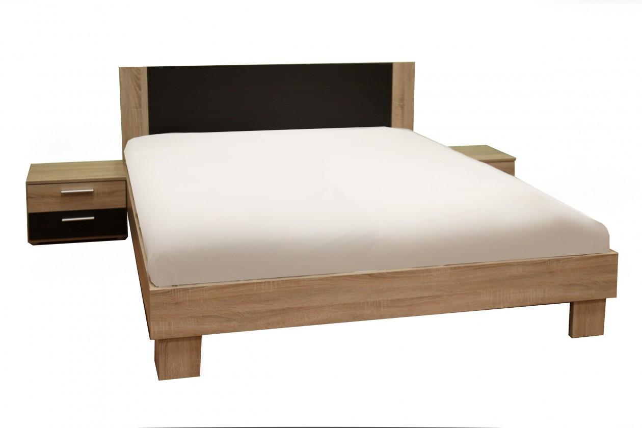 Helen - komplet, posteľ 160cm (dub sonoma, dub denver)