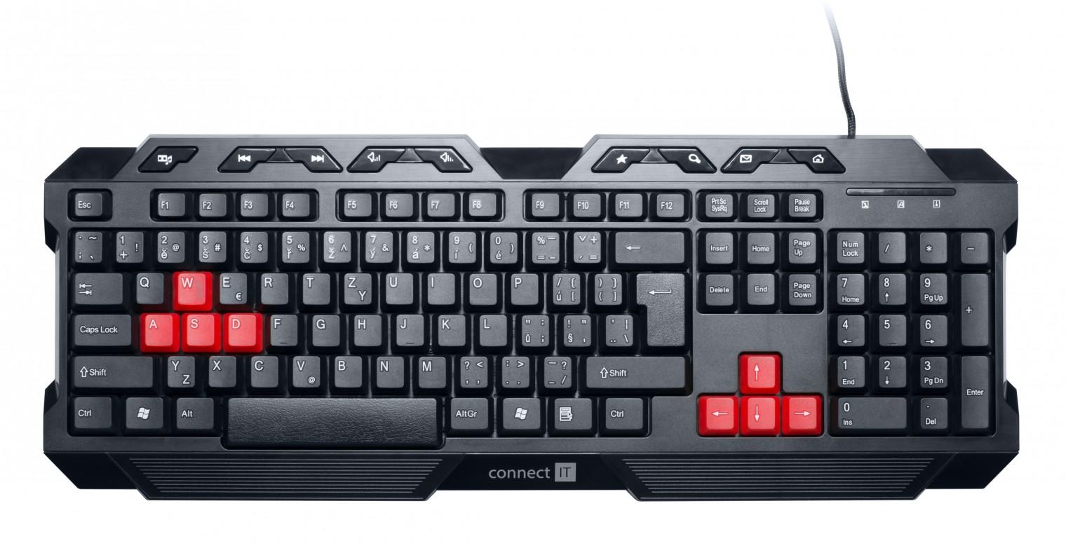 Herné klávesnice Connect IT CI-215 Tomcat herná USB, čierna
