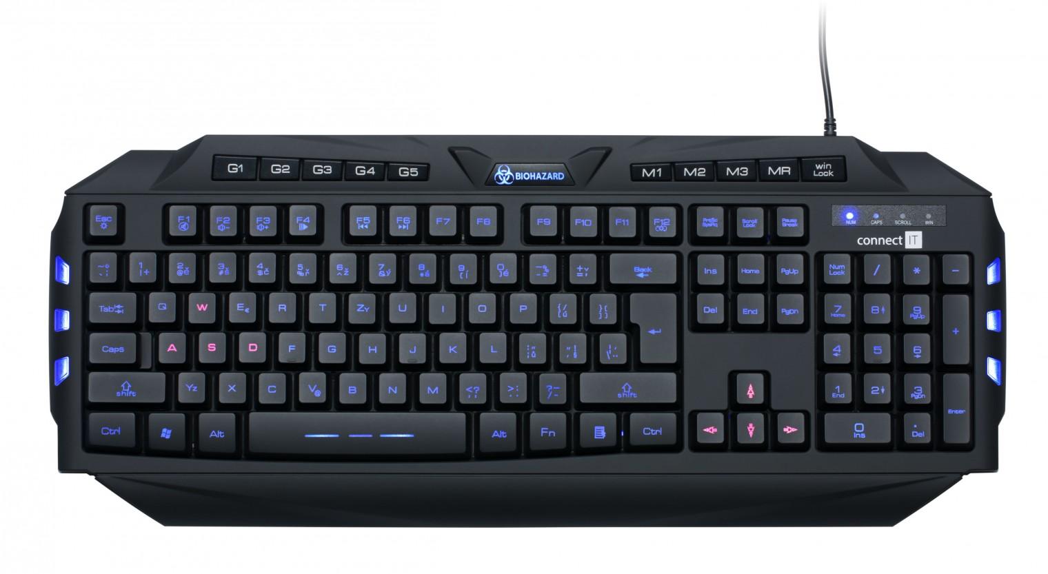 Herné klávesnice Connect IT CI-218 Biohazard Keyboard GK2000 USB CZ, čierna BAZAR