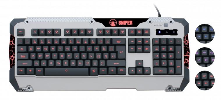 Herné klávesnice Connect IT GK5500 Sniper Keyboard USB CZ, biela