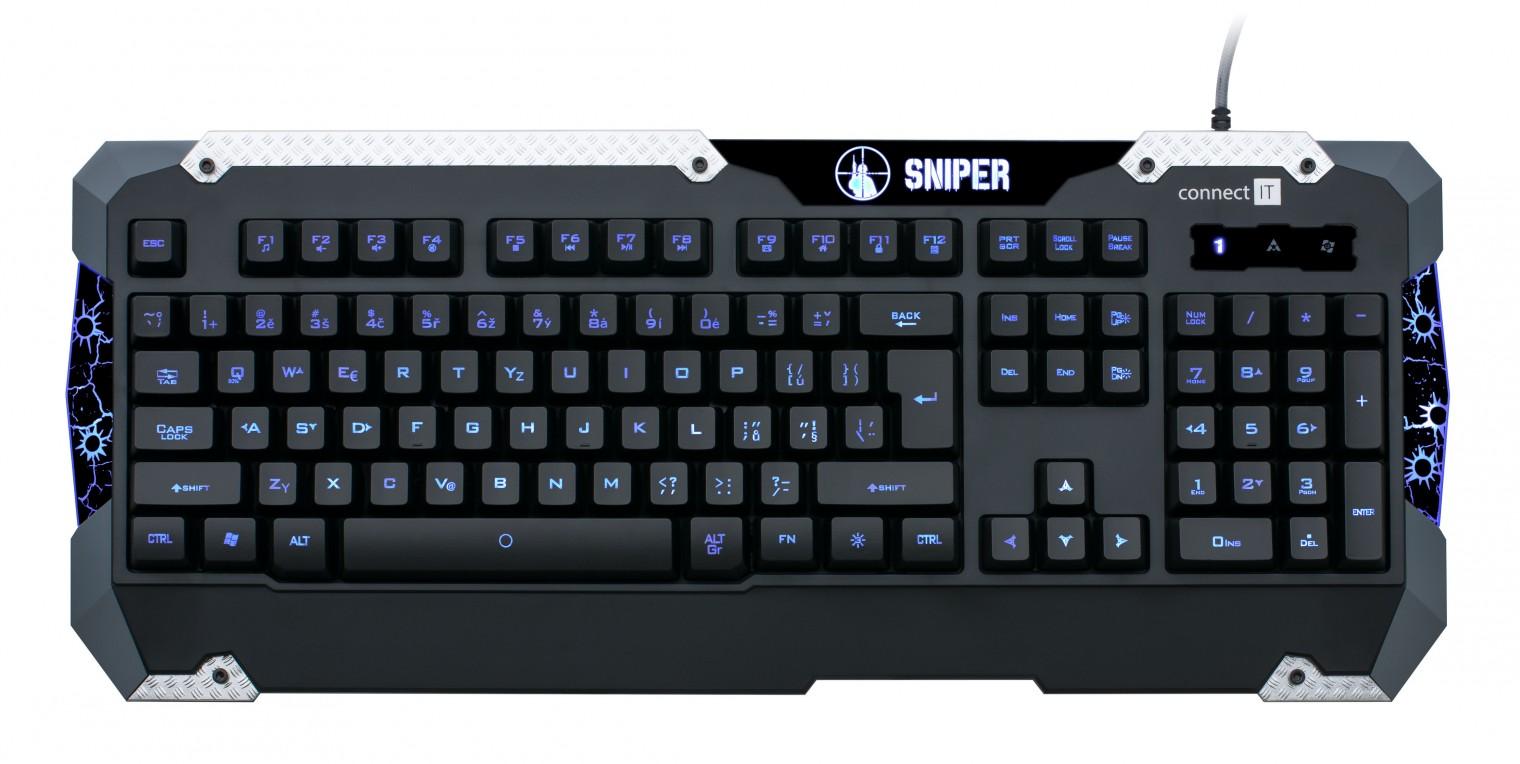 Herné klávesnice Connect IT GK5500 Sniper Keyboard USB CZ, čierna