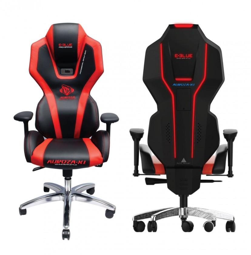 Herné kresla Herní židle E-Blue AUROZA, červená, podsvícená