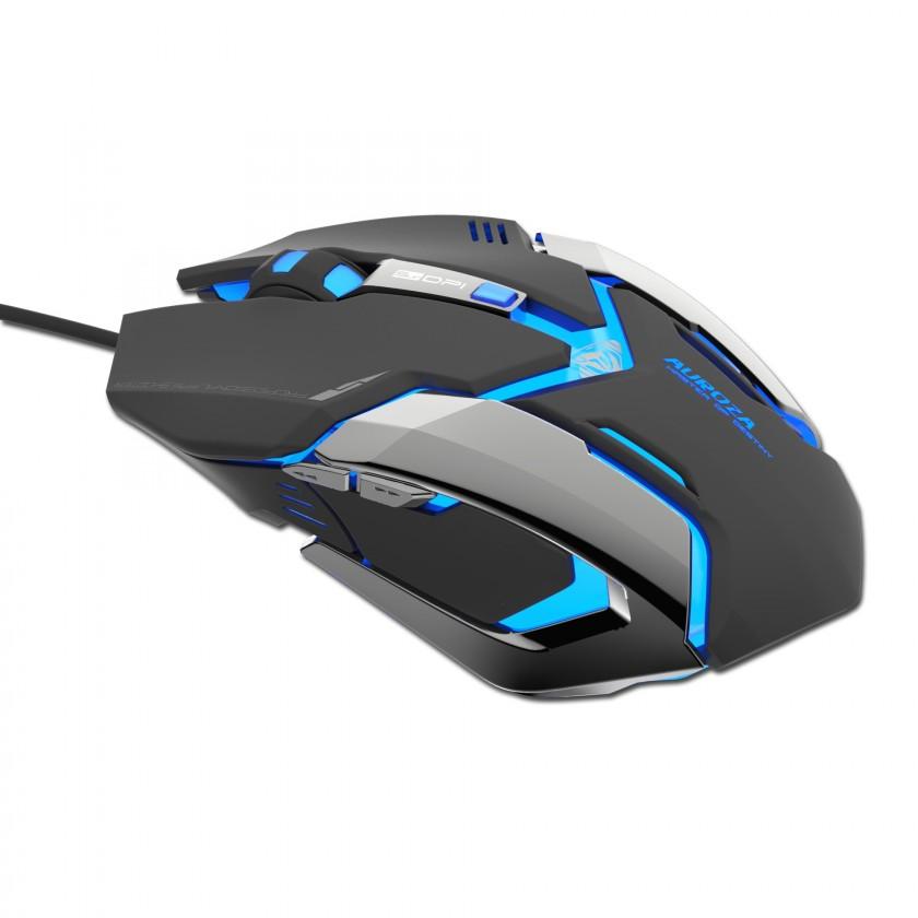 Herné myši Auroza Gaming,opt,6tl,1kol,drát(USB),černá,4000DPI,herní,e-box