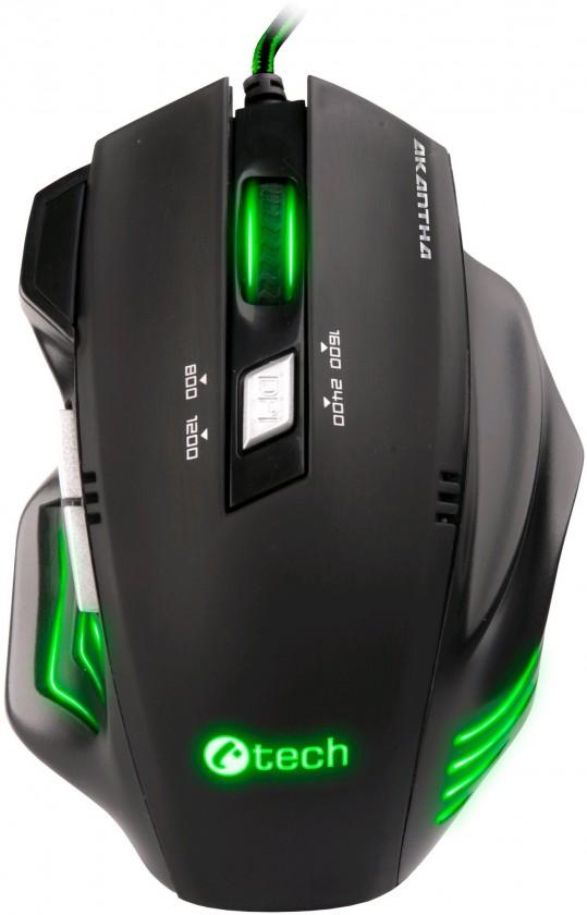 Herné myši Myš C-Tech Akantha (GM-01G) čierna/zelená