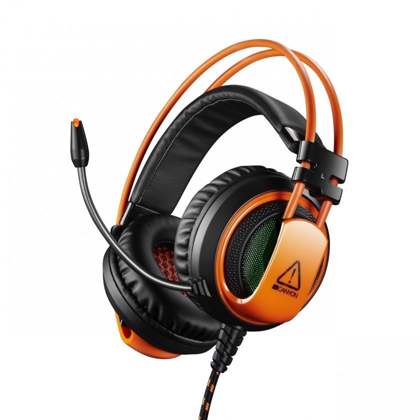 Herné slúchadlá Canyon CND-SGHS5 hráčsky headset pre expertov, čierno-oranžová