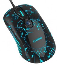 Herní myš OP-636B/drátová/laser/3200 dpi/LED/USB/černo-modrá