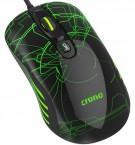Herní myš OP-636G/drátová/laser/3200 dpi/LED/USB/černo-zelená