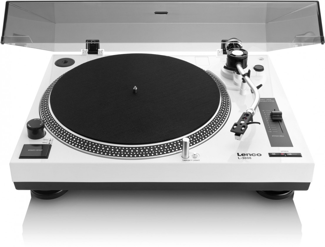 Hi-Fi gramofóny Gramofón Lenco L-3808, biely