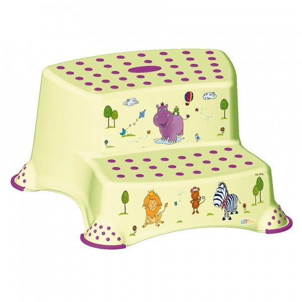 Hippo - schodík detský, dvojstupňový (žltý, fialový obrázok)