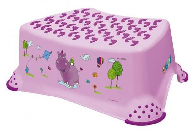 Hippo - schodík detský (ružový, fialový obrázok)