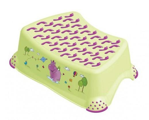 Hippo - schodík detský (zelený, fialový obrázok)