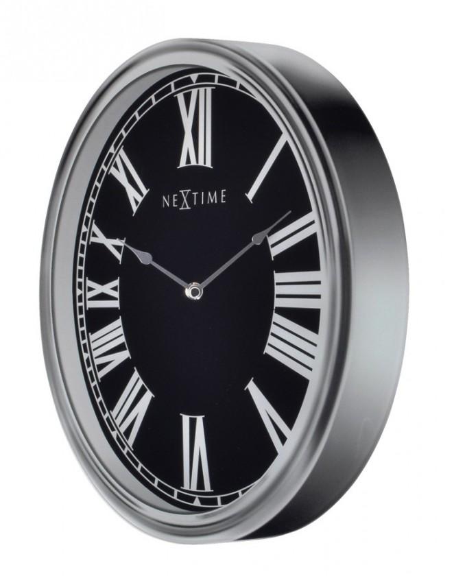 Houdini - hodiny, nástenné, guľaté (sklo, čierne)