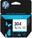 HP 304 Tri-color Original Ink Cartridge, N9K05AE
