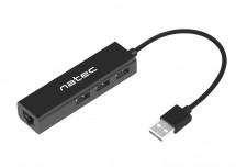 Hub Natec Dragonfly, USB 2.0 / 3x USB 2.0, RJ45, čierna