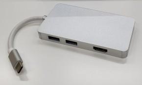 Hub Olpran B-3301, USB-C/2x USB 3.0, HDMI, USB-C, SD, strieborna