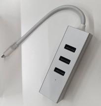 Hub Olpran BL-H01M, USB-C, 3x USB, mini DisplayPort, stříbrná POŠ
