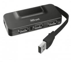 Hub Trust Oila 4, port USB 2.0, 4 USB konektory, čierna