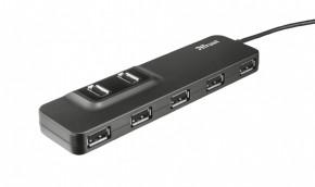 Hub Trust Oila 7, port USB 2.0, 7 USB konektorov, čierna