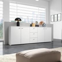 Hugo - Komoda, 4x dvere, 3x zásuvka (biela)