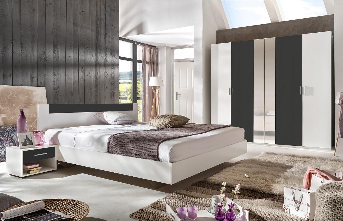 Ilona - Komplet 3, posteľ 140 cm (alpská biela, antracit)