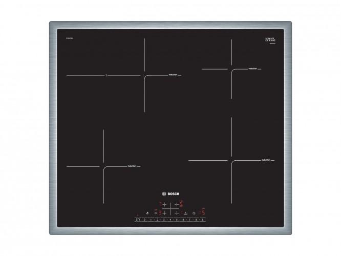 Indukční varná doska Bosch,60cm,4zóny,1xpečící, 7,4kW,nerez.rám
