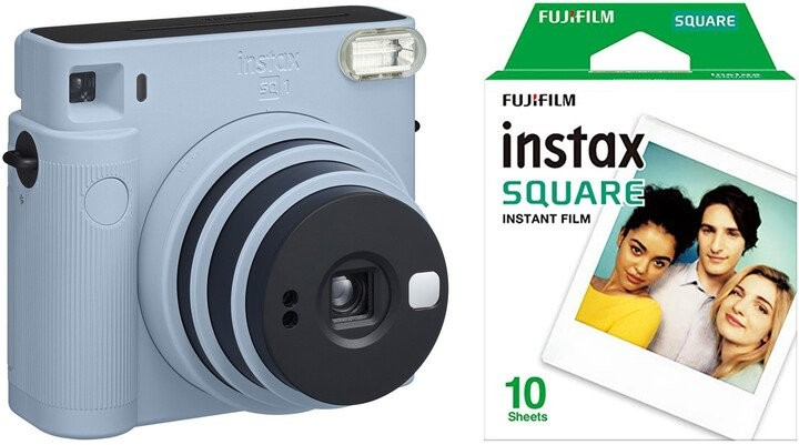 INSTAX Fotoaparát Fujifilm Instax Square SQ1, modrá + fotopapier 10ks