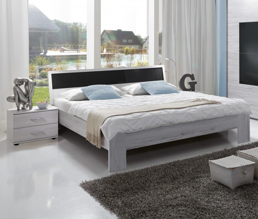 Istrien - komplet, posteľ 180cm (biely dub, šedé sklo)