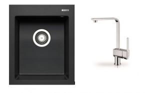 Istros - Granitový drez 41x50 (čierna) + batérie Espressivo