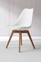 Jedálenská stolička Bess (bielá, dub) - II. akosť