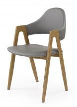 Jedálenská stolička K247, područky (ocel, eko koža)