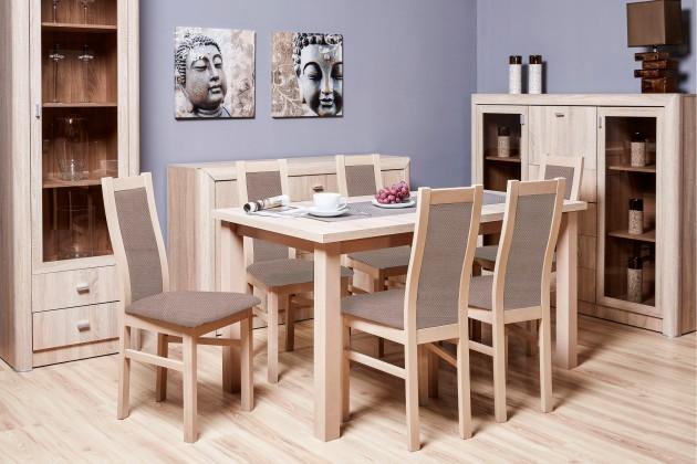 Jedálenské sety Jedálenský set Agáta - 6x stolička, 1x rozkladací stôl (sonoma/látka)