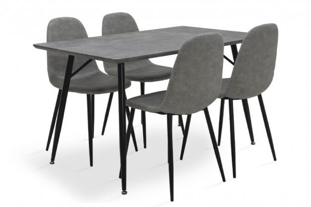Jedálenské sety Jedálenský set Cedric - 4x stolička, 1x stôl (sivá)
