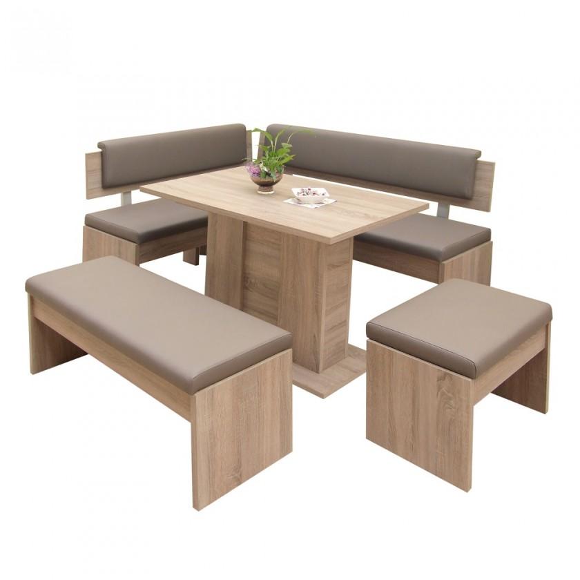 Jedálenské sety Jedálenský set Elinor - rohová lavica, stôl, 2x taburetka(hnedá)