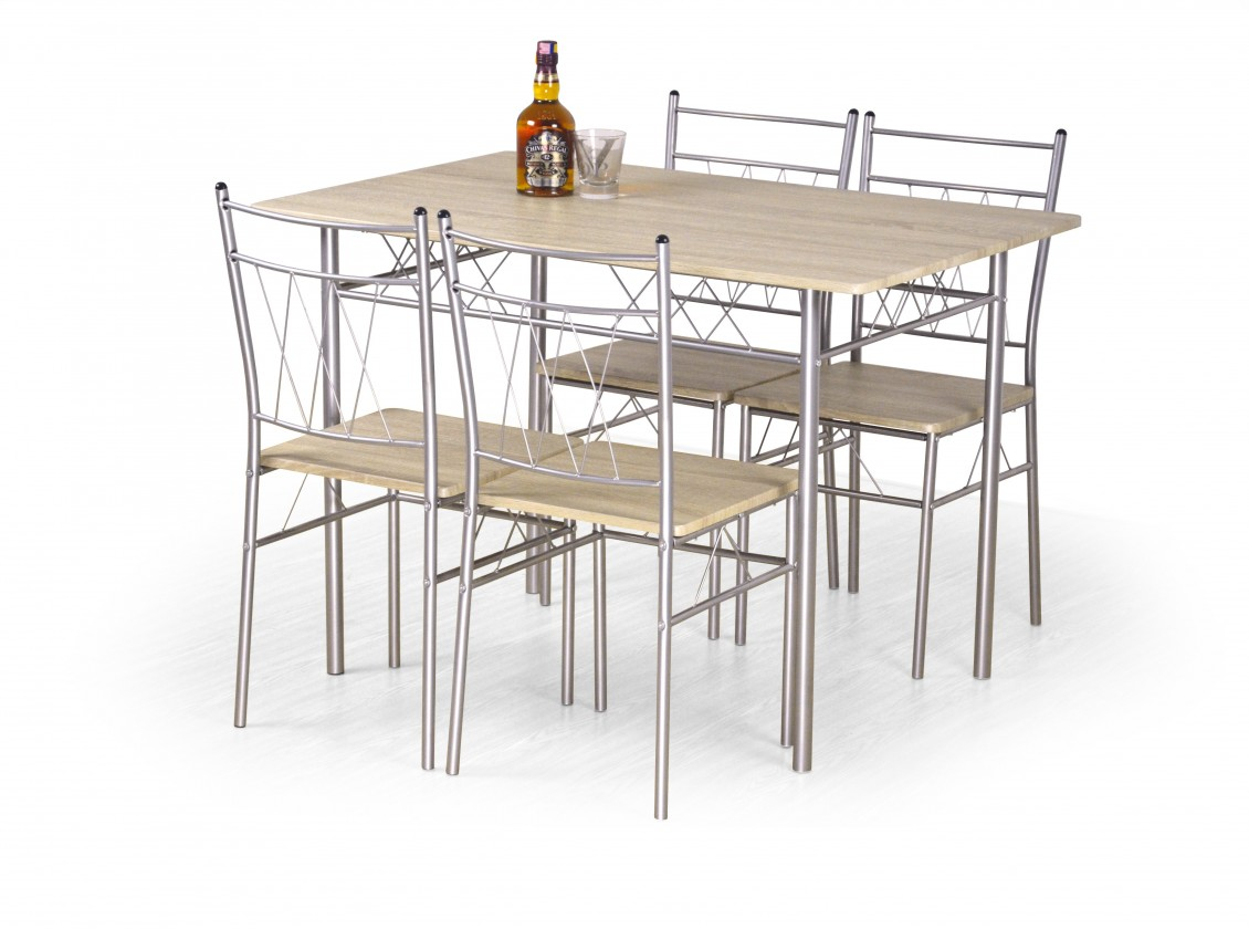 Jedálenské sety Jedálenský set Faust - Stôl + 4 stoličky (dub sonoma, strieborná)