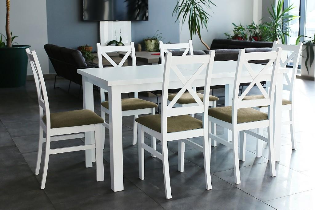 Jedálenské sety Jedálenský set Kasper-6x stolička, stôl rozkladací (biela,hnedá)