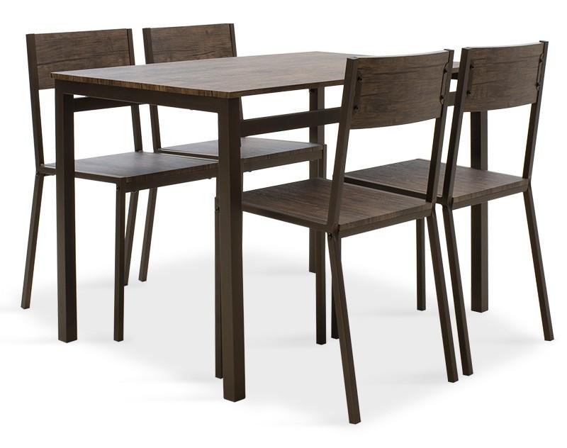 Jedálenské sety Jedálenský set Mabel - 4x stolička, 1x stôl (orech, tmavo hnedá)