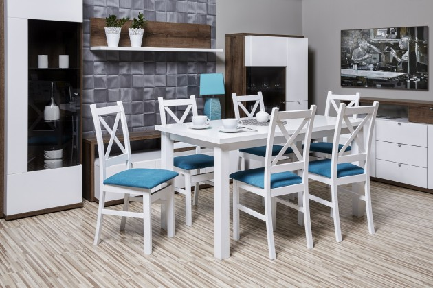 Jedálenské sety Kasper - Jedálenský set, stôl, rozklad, 6xstolička (aston19/mat)