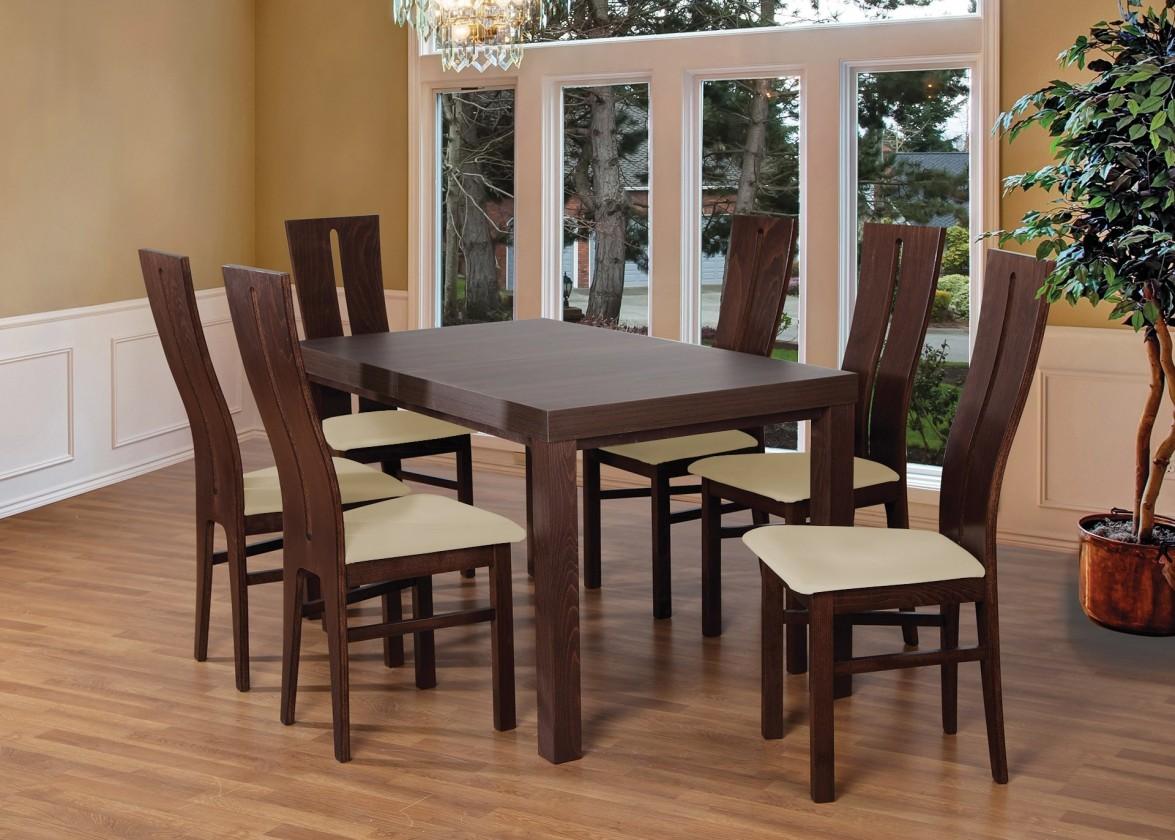 Jedálenské sety Set 1 - 6x stolička,stôl,rozkladací (orech tmavý/madryt 111/buk)