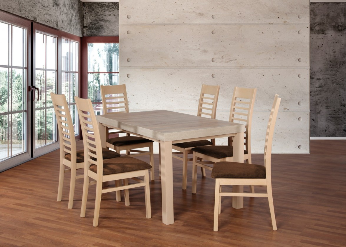 Jedálenské sety Set 17 - 6x stolička,1x stôl,rozklad (dub sonoma/nubuk 26W)