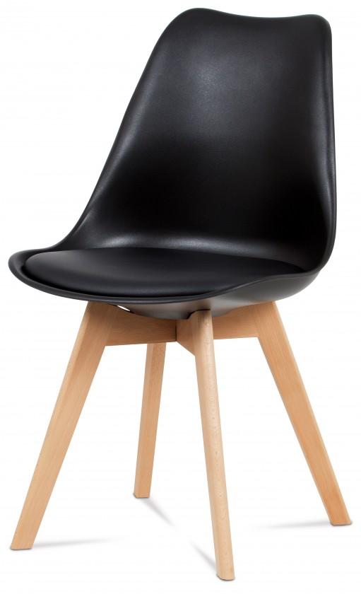 Jedálenské stoličky Jedálenská stolička Lina čierna, plast + eko kože