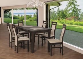 Jedálenský set 22 - Stôl 150x80,6x stolička (orech/cayenne 5)