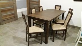 Jedálenský set AGA - 6x stolička, 1x rozkladací stôl (wenge/eko koža)