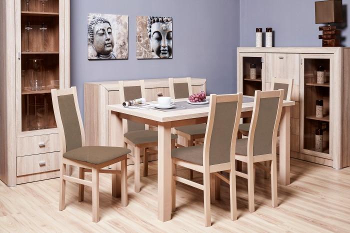 Jedálenský set Agáta - 6x stolička, 1x rozkladací stôl (sonoma/eko koža)