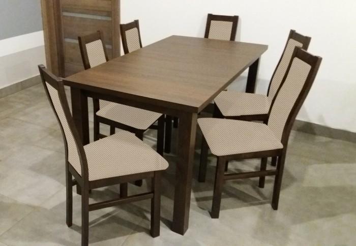 Jedálenský set Agáta - 6x stolička, 1x rozkladací stôl (wenge/látka)